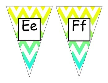 Teal Yellow Chevron Alphabet Pennants