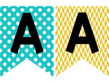Teal & Yellow Classroom Decor: Banners Small