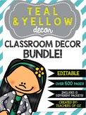 Teal & Yellow Classroom Decor: Bundle