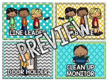 Teal & Yellow Classroom Decor: Classroom Helpers