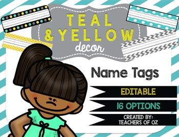Teal & Yellow Classroom Decor: Name Tags