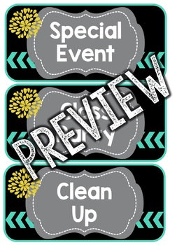 Teal & Yellow Classroom Decor: Schedule