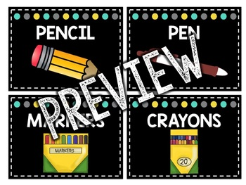 Teal & Yellow Classroom Decor: Supply Labels / What Are We Using Menu