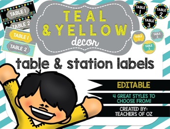 Teal & Yellow Classroom Decor: Table Signs / Station Signs