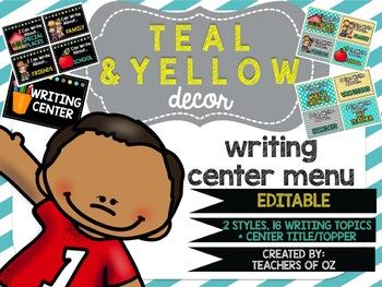 Teal & Yellow Classroom Decor: Writing Center Menu