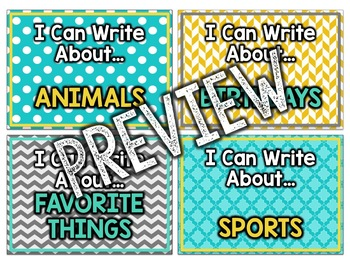 Teal & Yellow Classroom Decor: Writing Center Menu
