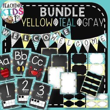 {Teal, Yellow, Gray} BUNDLE- Editable Banner & Labels, ABC & 123 Posters