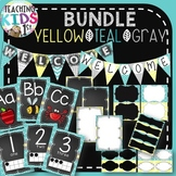 {Teal, Yellow, Gray} BUNDLE- Editable Banner & Labels, ABC