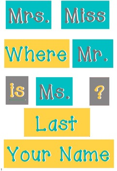 Teal, Yellow and Grey - WORDS for your Where is the counselor sign