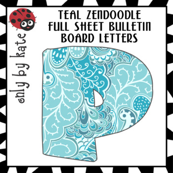 Teal Zendoodle Bulletin Board Letters