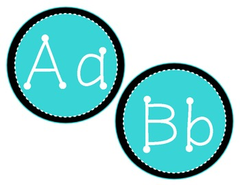 Teal and Black Alphabet Classroom Display