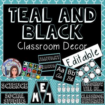 Teal Classroom Decor Editable