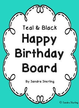 Teal and Black Happy Birthday Board