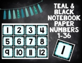 Teal and Black Notebook Paper Numbers 1-36 for Calendar an