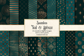 Teal and Bronze digital paper patterns