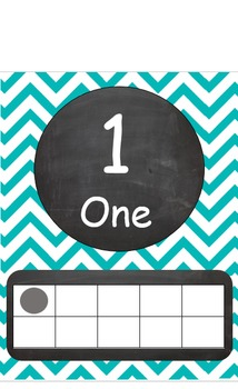 Teal and Chalkboard Chevron Numbers