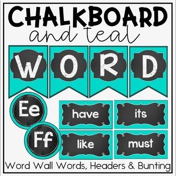 Teal and Chalkboard Classroom Decor Bundle