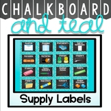 Classroom Supply Labels {Teal and Chalkboard Decor Theme}