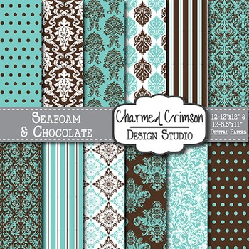 Teal and Chocolate Damask Digital Paper 1197