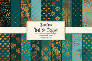 Teal and Copper Seamless Digital Paper backgrounds