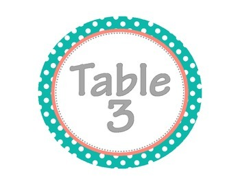 Teal and Coral Table Signs