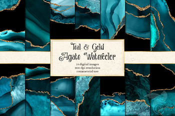 Teal and Gold Agate Geode Textures