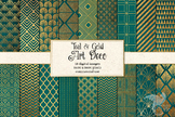 Teal and Gold Art Deco Digital Paper, Great Gatsby printab
