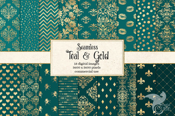 Teal and Gold Digital paper, seamless turquoise and gold foil patterns