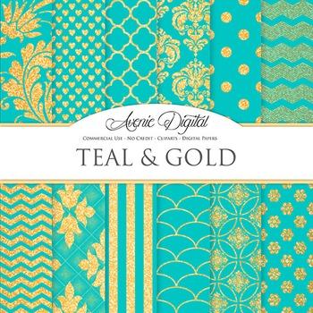 Teal and Gold Glitter Digital Paper sparkle pattern scrapbook background