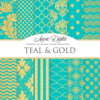 Teal and Gold Glitter Digital Paper sparkle pattern scrapbook background