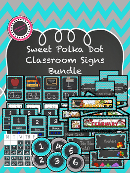 Teal and Gray Chevron Classroom Signs Bundle