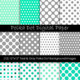 Teal and Gray Polka Dot Pattern Backgrounds
