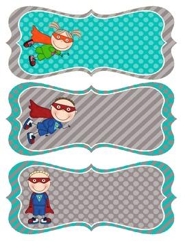 Superhero Name Tags - Teal and Gray