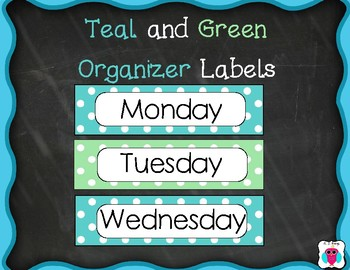 Teal and Green Organizer Labels