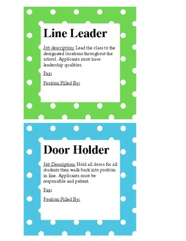 Teal and Green Polka Dot Classroom Job Signs
