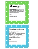 Teal and Green Polka Dot Classroom Job Signs