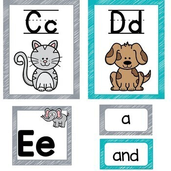 Alphabet Posters Gray and Teal