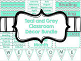 Teal and Grey Chevron Classroom Decor Bundle