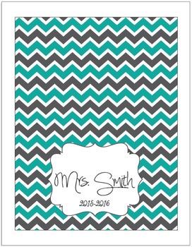 Teal and Grey Chevron Plan Book