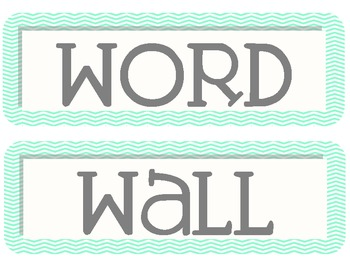 Teal and Grey Chevron Word Wall