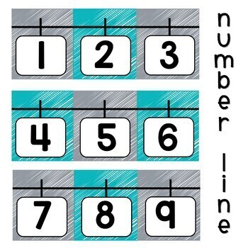Number Posters Teal and Gray