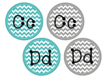Teal and Grey Word Wall Letters