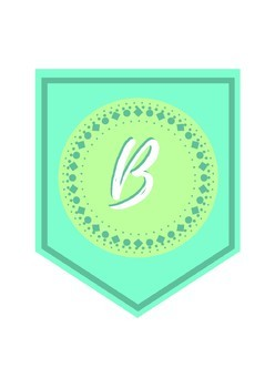 Teal and Jade Banner Letters - Print and Go - Bulletin Board - Classroom Decor