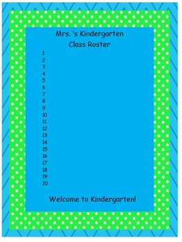 Teal and Lime Classroom Roster Template