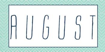 Teal and Navy Chevron Calendar Months