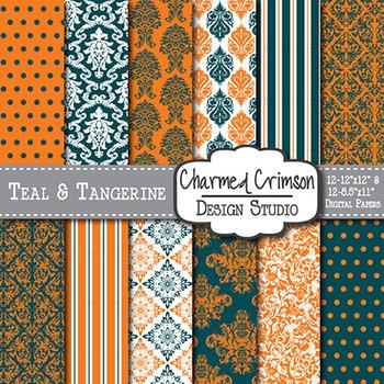 Teal and Orange Damask Digital Paper 1401
