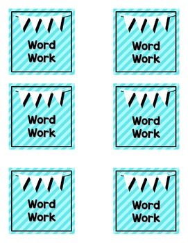 Literacy Rotation Cards - Teal and Black