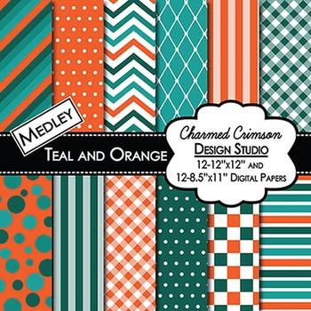 Teal and Orange Medley Digital Paper 1055