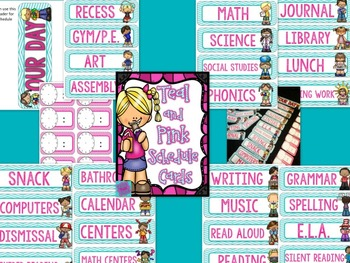 Schedule Cards- Chevon, Teal, and PInk:  EDITABLE