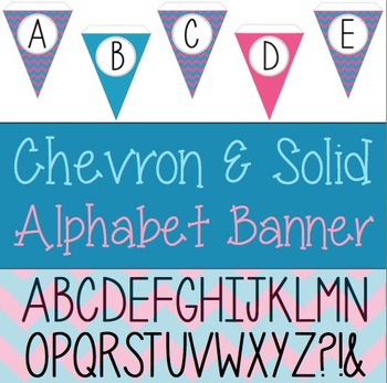 Teal and Pink Chevron and Solid Alphabet Pennant Banner